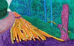 More Felled Trees on Woldgate, 2008 oil on canvas, two panels, 60 x 96 in.