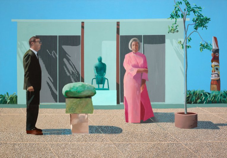 American Collectors (Fred & Marcia Weisman), 1968 acrylic on canvas, 84x120 in.