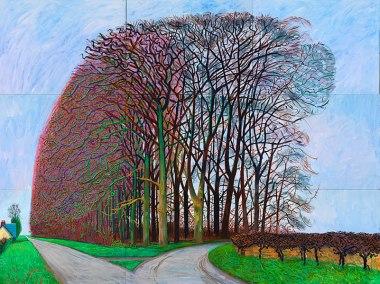 Bigger Trees Nearer Warter, Winter 2007 oil on canvas, six panels, 108 x 144 in.