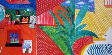 Hollywood Hills House, 1981 - 82 oil, charcoal & collage on canvas, 60x120 in.