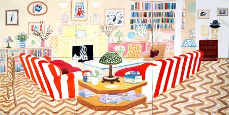 Interior With Lamp, 2003 watercolor on paper (6 sheets), 39 1/4 x 75 3/8 in.
