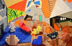 Large Interior, Los Angeles, 1988 oil, paper & ink on canvas, 72x120 in.