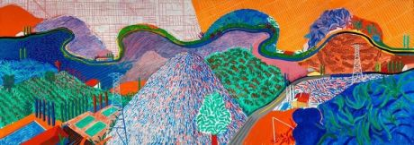 Mulholland Drive: The Road to the Studio, 1980 acrylic on canvas, 86x243 in.