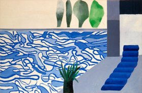 Picture of a Hollywood Swimming Pool, 1964 acrylic on canvas, 36x48 in.