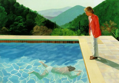 Portrait of an Artist (Pool with two figures), 1972 acrylic on canvas, 84x120 in.