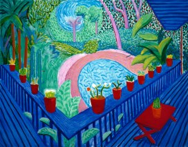 Red Pots In The Garden, 2000 oil on canvas, 60x76 in.