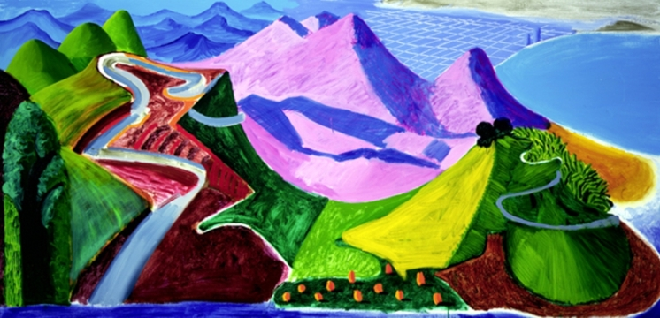 Small Santa Monica & The Bay From the Mountains, 1990 oil, 36x72 in.