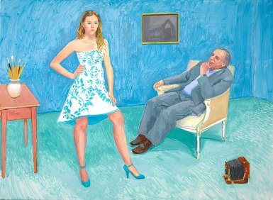 The Photographer & His Daughter (Jim & Chloe McHugh), 2005 oil on canvas, 56x76 in.