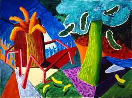The Railing, 1990 oil on canvas, 36x48 in.