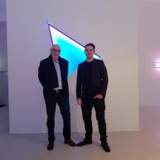 In front of Monte Blue, 2017 Fluo Acrylfarbe, 147 x 108 x 11,5 cm Schwarzlichtröhren