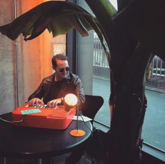 Playing music at the Message Salon: Artist in Residence project by Esther Eppstein