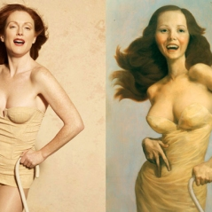 Julianne Moore by Peter Lindbergh as The Cripple by John Currin