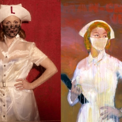 Julianne Moore by Peter Lindbergh as Man Crazy Nurse #3 by Richard Prince