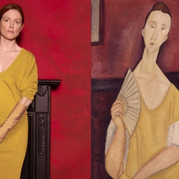 Julianne Moore by Peter Lindbergh as Woman With a Fan by Amedeo Modigliani