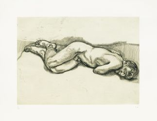 Lucian Freud Naked Man on a Bed, 1987Radierung, 57,2 x 76,2 cm © The Lucian Freud Archive/Bridgeman Images UBS Art Collection
