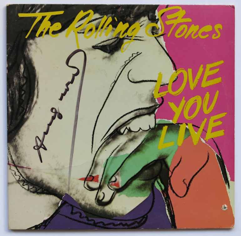 """Andy Warhol : Rolling Stones -Warhol Signed """"Love You Live"""" LP"""