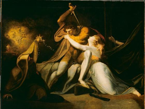 Dramatisch ausgeleuchtete Szenen sind typisch für Füssli, wie hier beim Ölgemälde «Parzival befreit Belisane aus der Umarmung durch Urma» von 1783. (Bild- Keystone:Tate, London)