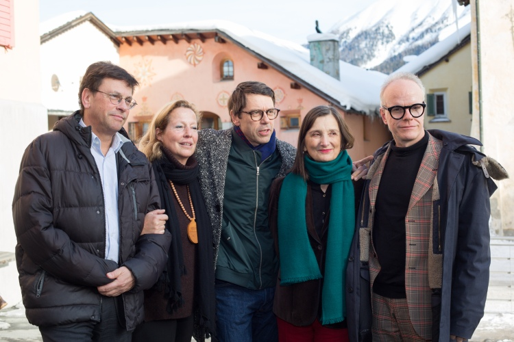 The curators and founders of the Engadin Art Talks. Bice Curiger, Cristina Bechtler, Philip Ursprung, Daniel Baumann and Hans Ulrich Obrist.