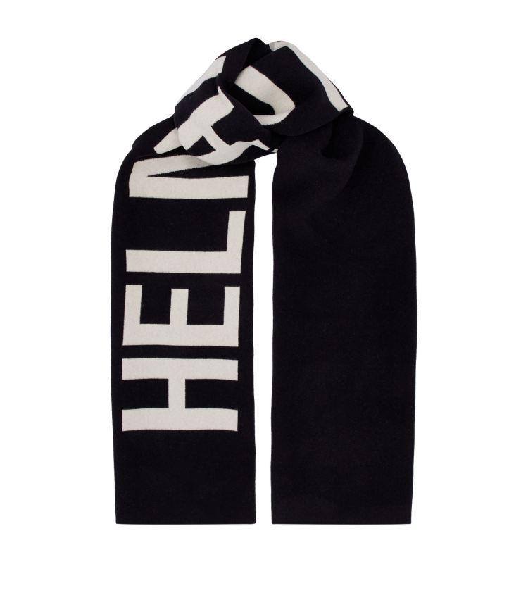 helmut lang logo wool scarf