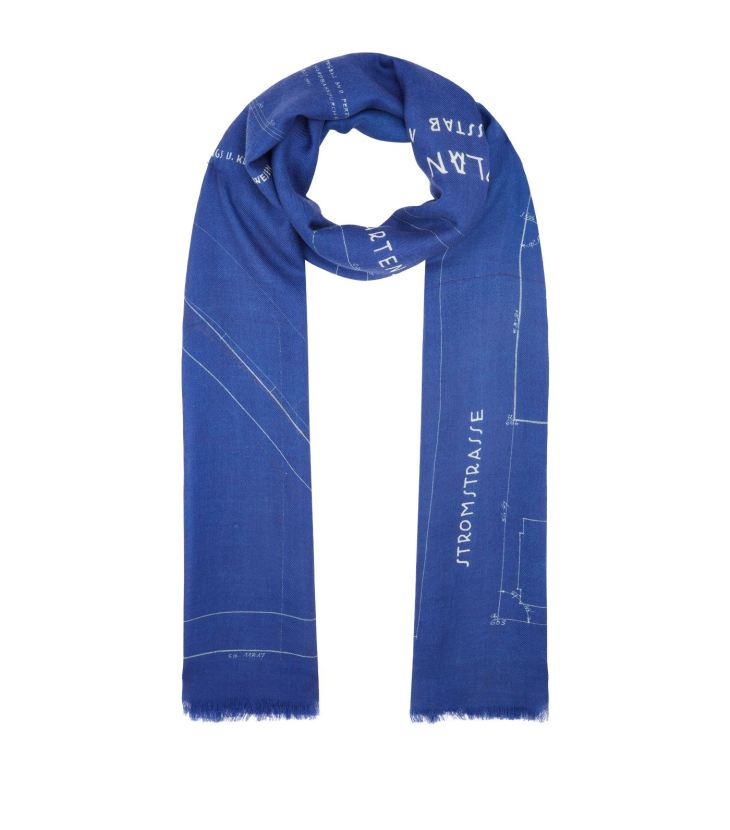Akris Silk-Cashmere Blueprint Scarf