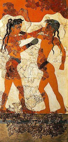 Boxing Boys Fresco, Room B1, Building B Akrotiri, c-2,000-1,800 BC