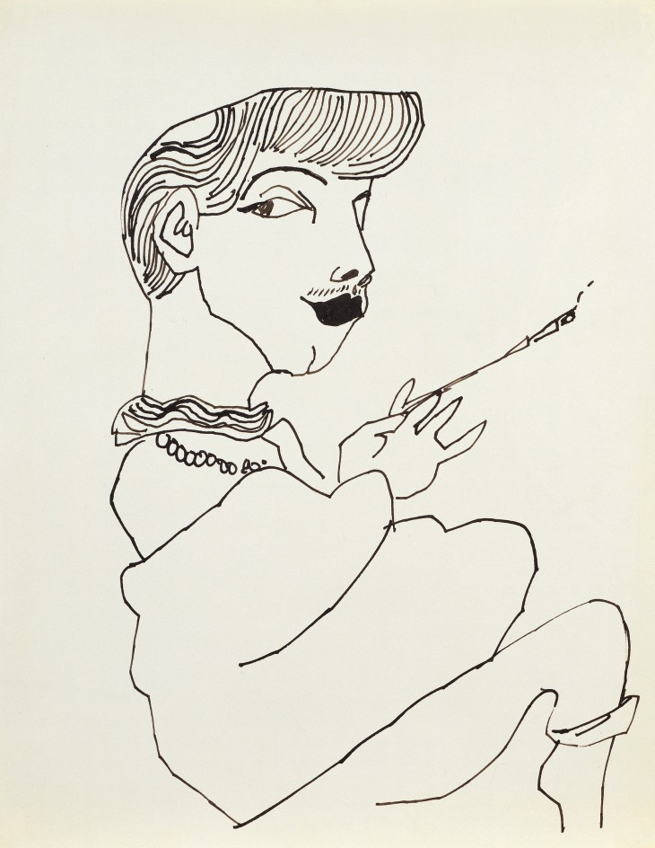 Andy Warhol, Otto Fenn, c. 1952, ink on paper, 11 × 8 ½ inches (27.9 × 21.6 cm). Collection of Joe Donnelly