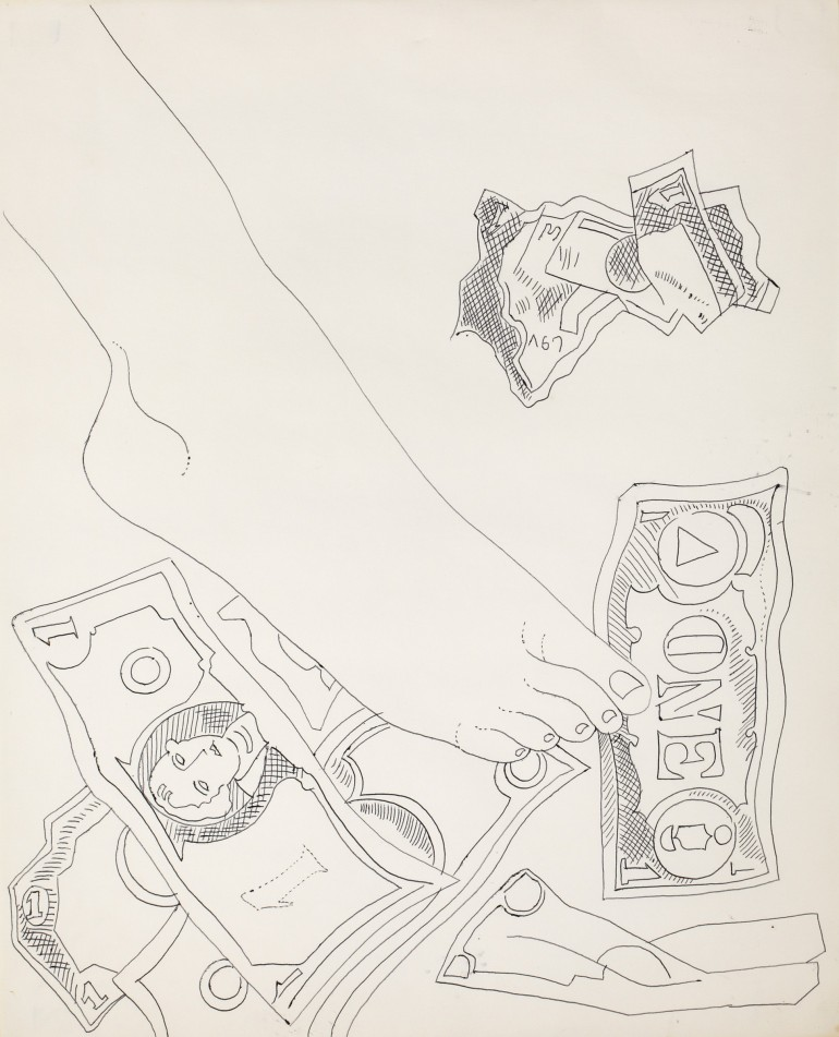 Andy Warhol, Foot with Dollar Bills, c. 1955–57, ballpoint pen on paper, 17 × 13 ¾ inches (43.2 × 34.9 cm). Collection of James Warhola