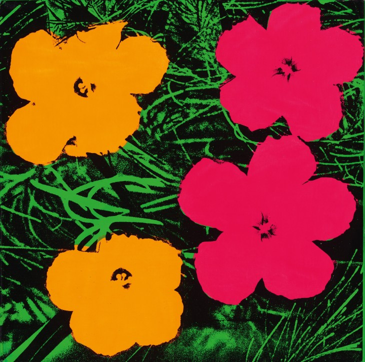 Andy Warhol, Flowers, 1964, fluorescent paint and silkscreen ink on linen, 24 × 24 inches (61 × 61 cm). The Art Institute of Chicago, gift of Edlis/Neeson Collection, 2015.123