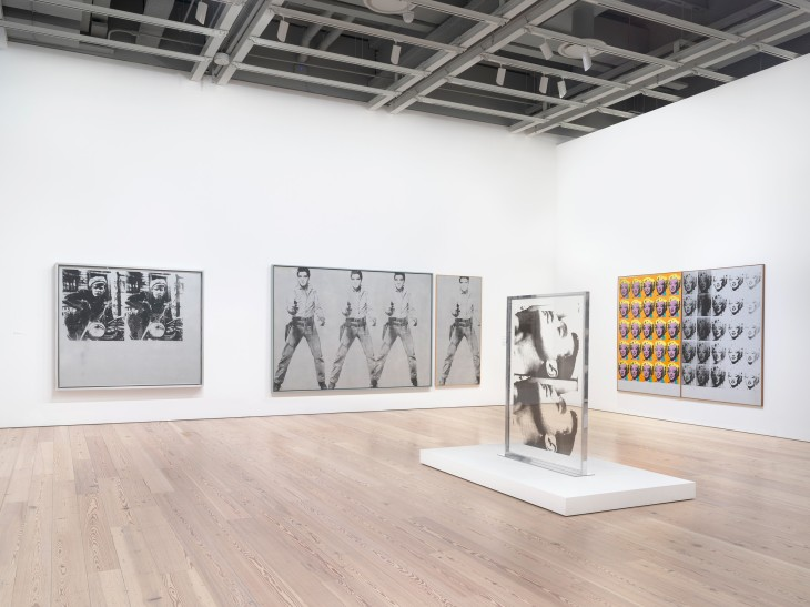 Installation view, Andy Warhol—From A to B and Back Again, Whitney Museum of American Art, New York, November 12, 2018–March 31, 2019. Left to right: Silver Marlon, 1963; Triple Elvis [Ferus Type], 1963; Single Elvis [Ferus Type], 1963; Large Sleep, 1965; Marilyn Diptych, 1962. Photo: Ron Amstutz