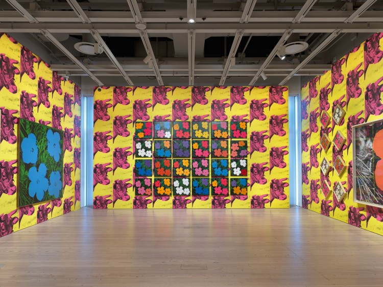 Installation view of Andy Warhol—From A to B and Back Again, Whitney Museum of American Art, New York, November 12, 2018–March 31, 2019. Left and center walls, all works: Flowers, 1964; right wall: Flowers [Large Flowers], 1964–65. Photo: Ron Amstutz