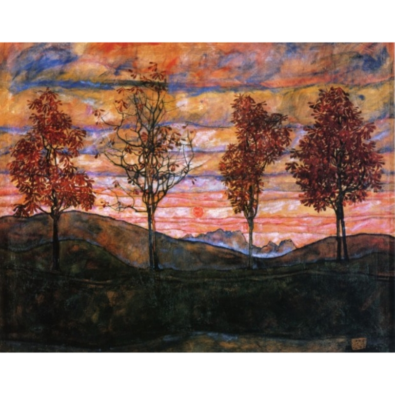 Egon Schiele, Four Trees, 1917, @belvederemuseum, Vienna