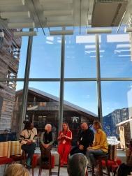 Left to right: Djamila Ribeiro, Joan Jonas, El Último Grito: Professor of Design Practice Roberto Feo & Rosario Hurtado, Jessica Morgan
