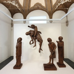 The white wall of the recently reopened venue provides a nice contrast to the religious wooden figures. Deposition wood ascribed to the 14th – 15th century.