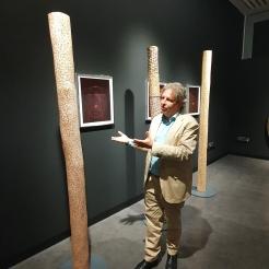 Curator George Petitjean presenting Gulumbu Yunupingu Gan'yu - stars, 2010
